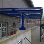 Eingangsüberdachung Sportlereingang Hartmannhalle Chemnitz, Dachfläche aus Glas