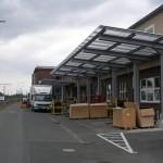 Freitragende Überdachung der Anlieferungszone im DB-Werk Frankfurt